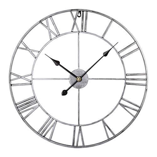 Jo332Bertram 40cm Orologio da Parete in Metallo - Stile Vintage - Orologio da Muro Silenzioso - Vintage Argento