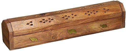Worthy Shoppee Handcrafted Sheesham Wood and Brass Agarbatti Holder(33.2x7.8x6.8cm, Brown)