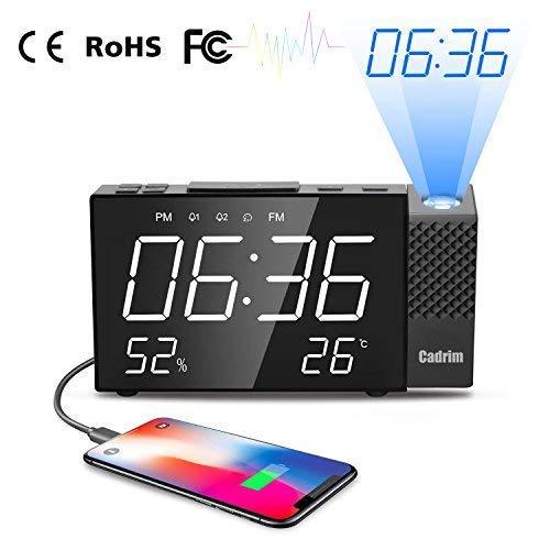 Sveglia con Proiezione, Cadrim Orologio Sveglia a Proiezione Digitale,con Allarme Proiezione Radio...