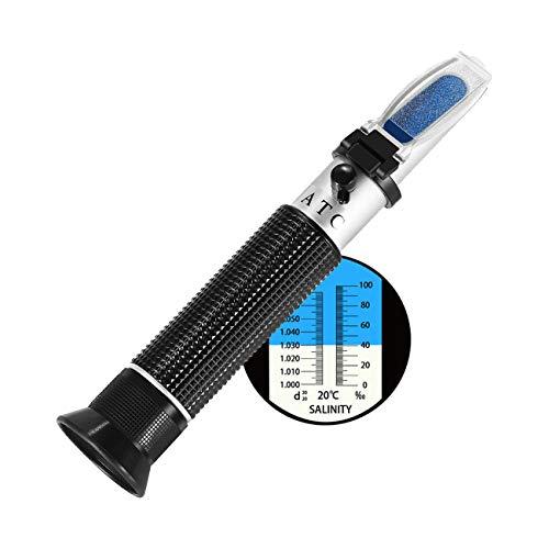 Meerwasser Salzgehalt Refraktometer,W-Unique Handheld Messgerät Salinometer Refraktometer 0-10{b9312fe63aa0592b16d0dcdd218ccba29e53ebf152d8ab87efeb13d8ecccb1f1} Salinitäts-Refraktometer und Spezifisches Gewicht 1,000 bis 1,070 für Salzwasser Aquarium, Hydrometer