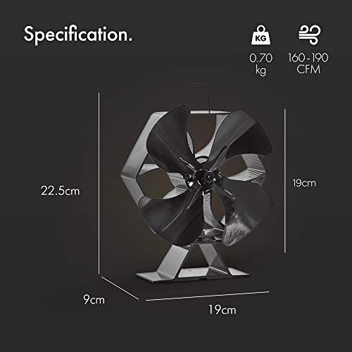VonHaus XL 4 Blade Stove Fan – Thermoelectric/Heat-Powered/Eco-Friendly/Economical – Silent Operation – Circulates Heat For Improved Distribution – Suitable For Use With Stoves, Log Burners & Fireplaces - 160-190 CFM