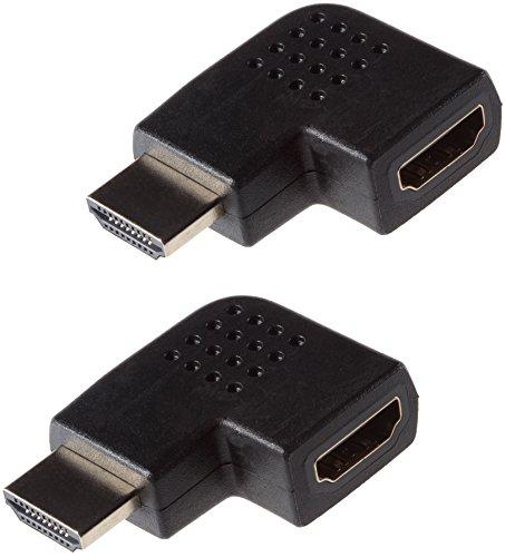 Poppstar 2x HDMI Winkelstecker 270 Grad horizontal (TV Winkeladapter Eck, Stecker auf Buchse, 4k UHD 2160p), Winkel Adapter für Verlängerung Kabel, vergoldete Kontakte