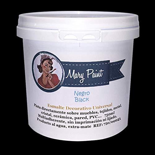 Mary Paint, Pintura para muebles efecto Chalk Paint, Negro, 750ml