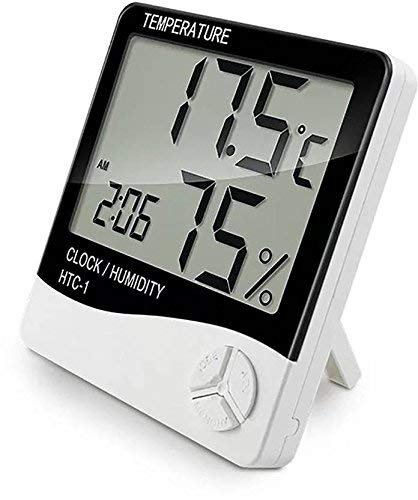 SVE Super Digital Temperature Humidity Time Display Meter with Alarm Clock, Wall Mount Or Table Top, with Inbuilt Sensor