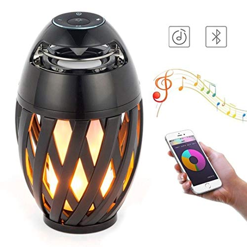 Giftana LED Flame Torch with Handle Atmosphere Bluetooth Speaker and Outdoor Portable Stereo and HD Audio and Enhanced Bass and FM (Black)