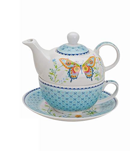 Wurm - Juego de teteras (Porcelana), diseño de Mariposas, Color Azul