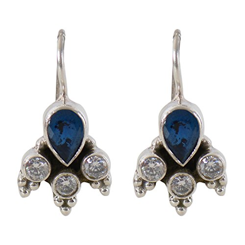 Silverwala 925-92.5 Sterling Silver Pearl Sapphire Ruby Turquoise Cubic Zirconia Onyx Stone Hanging Earring for Women and Girls (BLue)