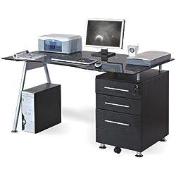hjh OFFICE 673945 NERO - Mesa de Ordenador negro / en cristal negro templado / plateado con cajonera