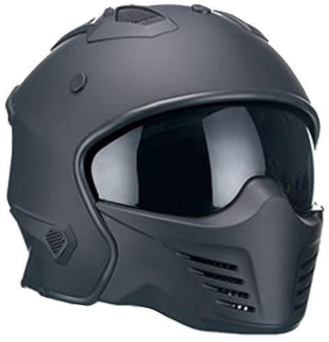 Motorradhelm Jethelm Helm RALLOX 726 matt schwarz mit ansteckbaren Kinnteil Größe M