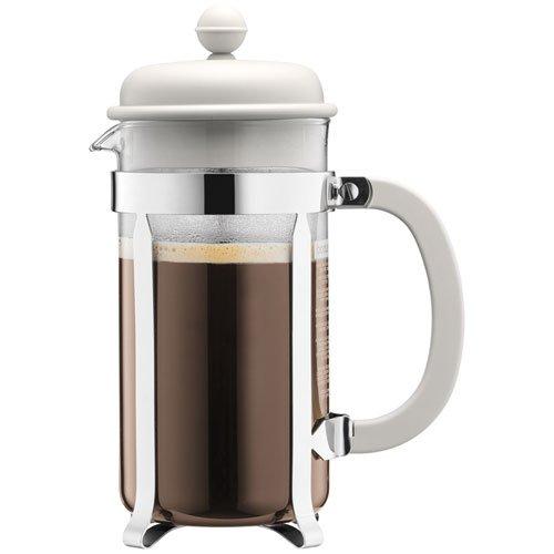Bodum–Caffettiera–Caffettiera a pistone tazze, Vetro, Bianco, 1L