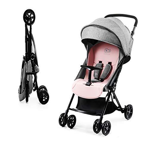 Kinderkraft Passeggino LITE UP Buggy Ultraleggero Compatto Pieghevole una Mano con Accessori Coprigambe Parapioggia dalla nascita a 3,5 anni (0-15 kg) Rosa
