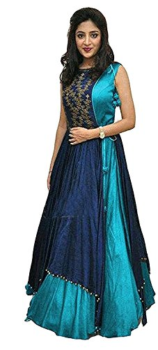 Gown(Hirva collections Women's Tapeta Silk Semi - Stitched floor length Free Size Gown Women's Clothing Dress for women wear Dress collection in latest Dress beautiful Dress for women party wear offer designer Dress new lehenga choli for women party wear lehenga choli for girls of 20 years lehenga choli for women lehenga choli) (Firozi Exclusive Premium Quality)