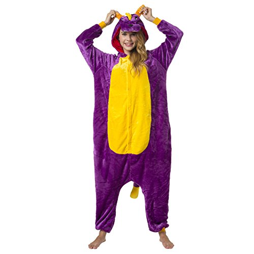 Katara-(10+ Modelos) Kigurumi Pijamas Disfraz Animal Halloween Adultos, Color dinosaurio lila, Talla 165-175cm (1744)