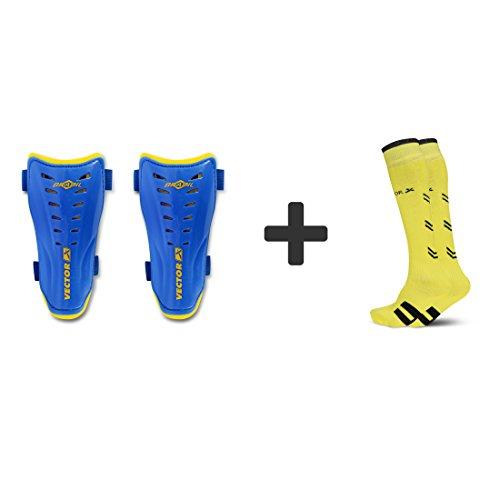 Vector X Combo of Soccer Socks & Shinpads (YELLOW SOCKS-BRASIL SHINPAD, M)