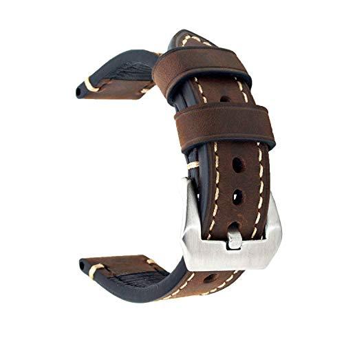 Cinturino di ricambio in vera pelle, per orologio vintage, da uomo o donna, con fibbia in acciaio inossidabile, 20 x 22 x 24 mm, Dark Brown