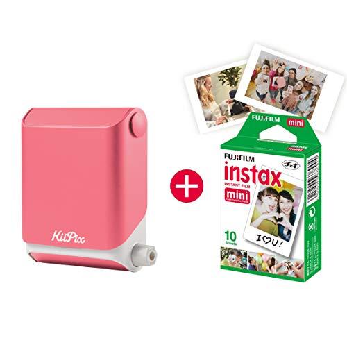 KiiPix Fotodrucker Cherry Blossom Pink | Smartphone kompatibler Sofort-Fotodrucker | mit Fujifilm Instax mini Starterpaket |  Polaroid-Bilder