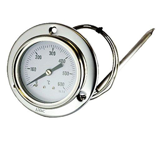 AM&C TE/XF Termometro per Forno, forno a Legna, barbecue 0-600°C con sonda