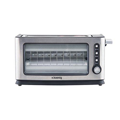 H.Koenig VIEW6 Toaster / 2 Scheiben /  Sichtfenster / 7 Wärmestufen / 3 Funktionen / Edelstahl und Glas / silber