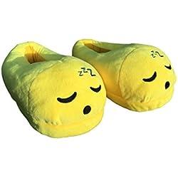 Desire Deluxe Zapatillas Casa Invierno con Figura de Emoji en Forma de Dormir zzzz Sonriente - Pantunflas Invierno de Talla Universal para Hombre, Mujer, Niño y Niña
