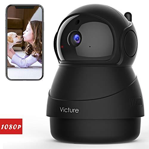 Victure 1080P Cámara IP WiFi,Cámara de Vigilancia FHD con Visión Nocturna,Cámara de Mascota,Detección de Movimiento,Audio de 2 Vías, 2.4GHz WiFi, Compatible con iOS/Android (Negro)