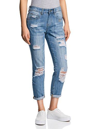 oodji Ultra Damen Boyfriend Jeans in Used-Optik, Blau, 27W/32L (DE...