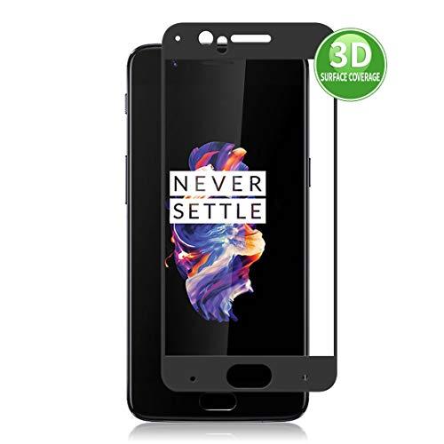X-Dision 3D Protector de Pantalla Compatible con OnePlus 5 (Negro), HD Película Protectora Completa, Cubierta Protección de Vidrio Templado 9H, Anti-Huella Dactilar y Anti-roturas