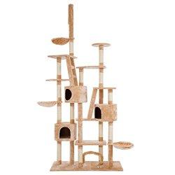 katzeninfo24.de UWOP Luxus-Kratzbaum Sphynx – deckenhoch (265cm), große Spiel- und Kletterwelt, Abenteuerspielplatz für mehrere Katzen