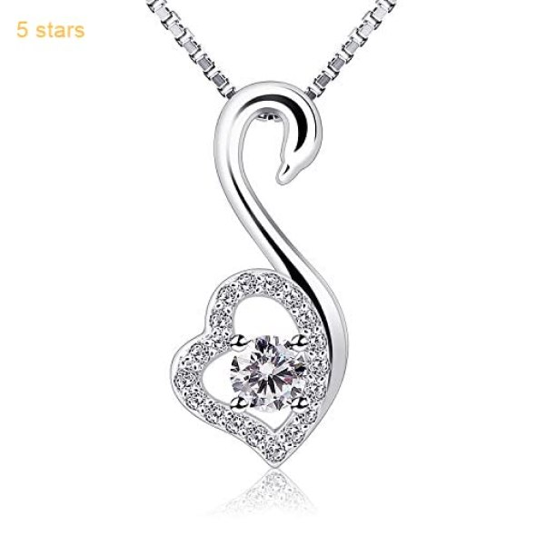 c714f5a65 B.Catcher 925 Silver Cubic Zirconia Heart Pendant Necklaces Love Swan Sterling  Necklace Pendants with Gift Box