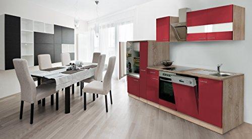 respekta Incasso cucina cucina riga 310cm Rovere sonoma grezzo Front rosso con nastro Designer...