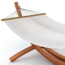 Ampel 24 Hängemattengestell Mauritius 310 natur-braun | Holz wetterfeste sibirischer Lärche | Stabhängematte Baumwolle weiß