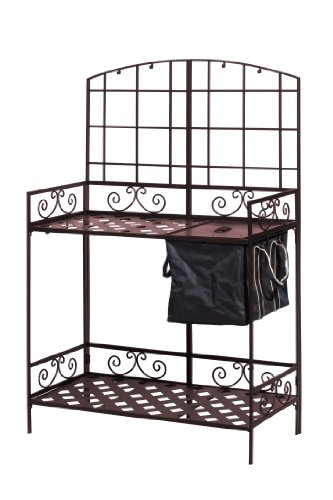 Featuring a powder-coated steel construction, the Panacea Products Potting Bench with Soil Reservoir will perfectly resist all weather conditions for countless years to come.