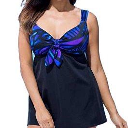 Yonglan Donne Halter delle Due Pezzi Costumi da Bagno Carino Motivo Stampato Vita Alta Tankini Swimsuit Plus Size Swimwear Swimdress