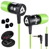 KLIMTM Fusion - Auriculares con micrófono para móvil + Garantía 5 años + Innovadora Espuma de Memoria + Jack 3,5 mm + Compatibles con Smartphone, Tablet, Consola, PC - Nueva Versión 2020 - Verde
