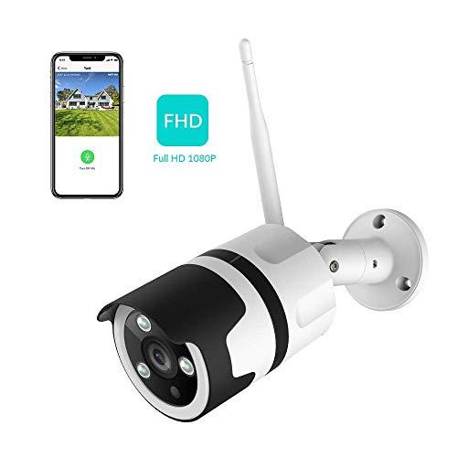Netvue Telecamera wi-fi Esterno Senza Fili 1080P Netvue, compatibile con Alexa, impermeabile antipolvere fotocamera statica con visione notturna, connessione LAN&WLAN