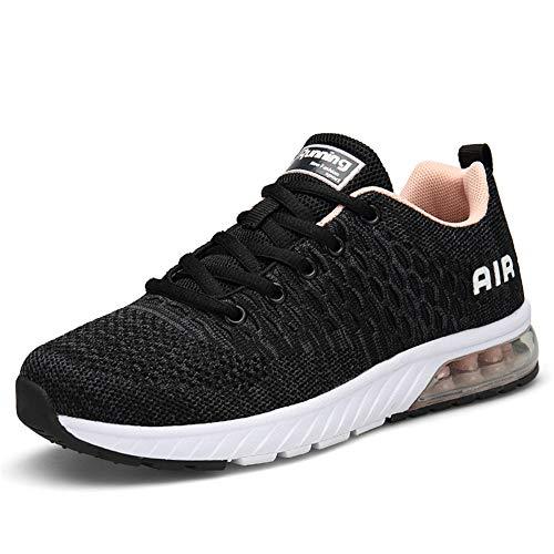 IceUnicorn Damen Laufschuhe Rutschfeste Atmungsaktiv Gym Sportschuhe Schnürer Outdoor Turnschuhe Joggen Schuhe Freizeit Sneaker(Grau/Pink,37EU)