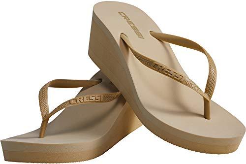 Cressi Lady Flops Marbella High Heel, Ciabatta Infradito Donna, Oro, 39/40