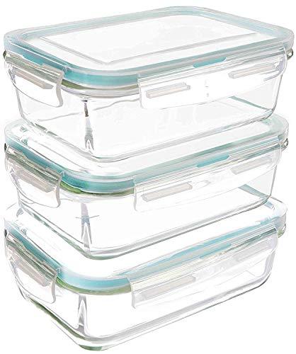 Utopia Kitchen Set di contenitori per alimenti in vetro - 6 pezzi (3 contenitori + 3 coperchi)-...