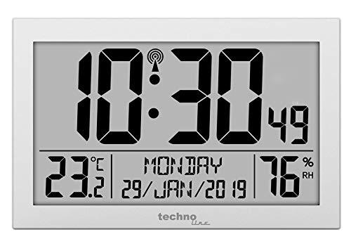 Technoline WS8016 WS 8016 - Orologio da Parete radiocontrollato con indicatore della Temperatura, in plastica, 225 x 143 x 24 mm, Colore: Argento