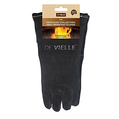 This pair of gloves is a good example of quality work. The De Vielle Heritage Leather Stove Gloves will protect you from the heat effectively. The gloves have been tested and passed as safe. You can use them around the house for heat-related processes. It all depends on exactly what you need them for. The price is good and the quality you get is even better. Women with small hands may find them a bit tasking though.