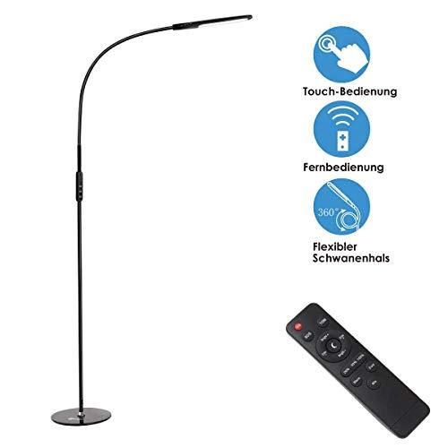 imiGY Stehlampe LED Stehleuchte Dimmbar 9W Standleuchte mit Fernbedienung,Touch-Bedienung 360 ° Drehfunktion 5 Helligkeitsstufen und 5 Farbtemperaturen,Leselampe für Wohnzimmer und Büro, Schwarz