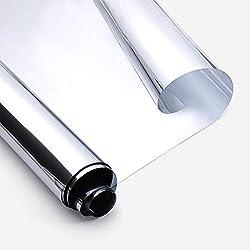 rabbitgoo Vinilo Cristal Ventana Película de Espejo Unidireccional Lámina Electricidad Estatica Protector Solar Privacidad Deorativos Adhesiva Anti 85% Calor y 99% UV para Hogar Oficina 44.5x200CM