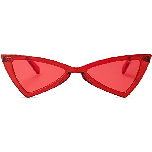 SOJOS Designer Cateye Triangle Sunglasses High Pointed Flat Mirrored Lens SJ2051 C13 Red Frame/Clear Red Lens
