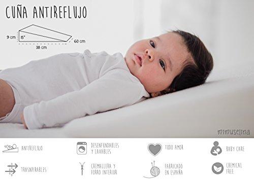 Cuña Antireflujo Bebé | Almohada Inclinada para Cólicos, Cuña Bebé para Dormir en Cuna, Almohada Desenfundable, 60 cm x 38cm