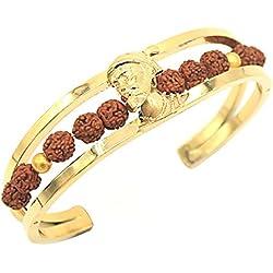 Tejas Immitation Jewellery Shivaji Maharaj Bracelet for Men, Free Size(Gold)