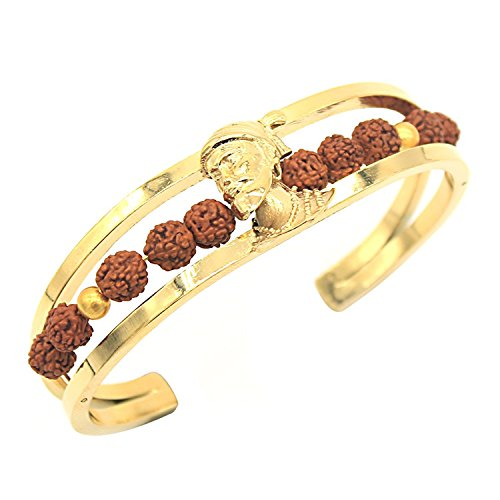 Tejas Immitation Jewellery Shivaji Maharaj Bracelet for Men, Free Size(Gold)
