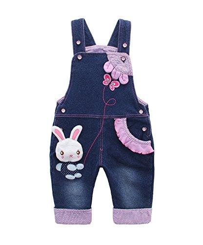 Niñas Peto Vaqueros Overalls Mono Pantalón Largo Ajustable con Animal Conejo Y Mariposa Azul - 100