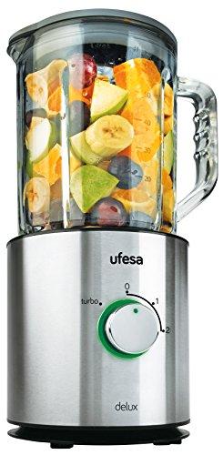 Ufesa BS4798 - Batidora de vaso con jarra de vidrio, 800 W, capacidad de 1,5 l, color plata