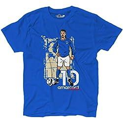 KiarenzaFD Maglietta T-Shirt Calcio Amarcord Vintage Divin Codino Glory Italia Azzurri XL Royal