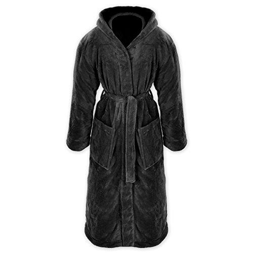 Gräfenstayn® Damen & Herren Kuschelfleece Bademantel mit Kapuze Größe S-XXXL Öko-Tex Standard 100 Flanell Fleece (L, Schwarz)