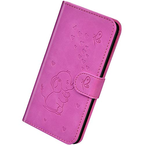 Herbests Kompatibel mit iPhone XR Hülle Leder Schutzhülle Handyhülle Flip Wallet Case Cover Liebe Schmetterling Elefant Leder Tasche Klapphülle Kartenfach Magnetisch,Lila Rose